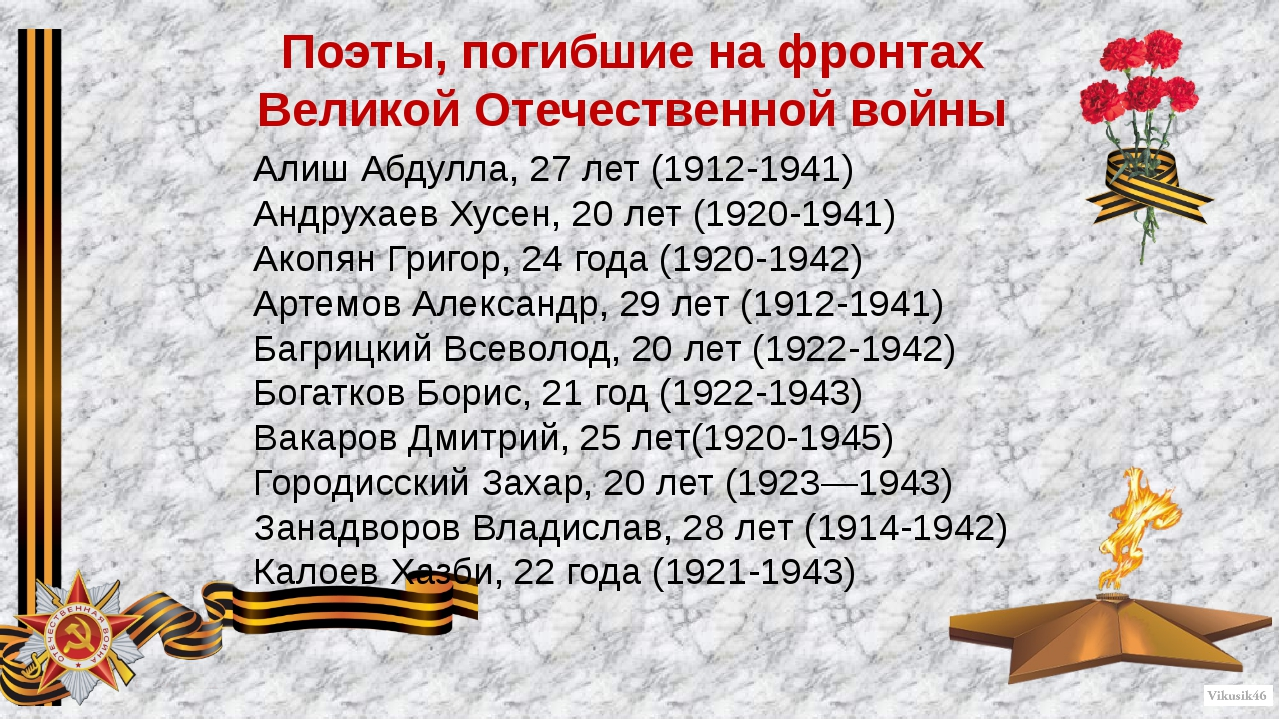 Поэты, погибшие на фронтах Великой Отечественной войны Алиш Абдулла, 27 лет (...