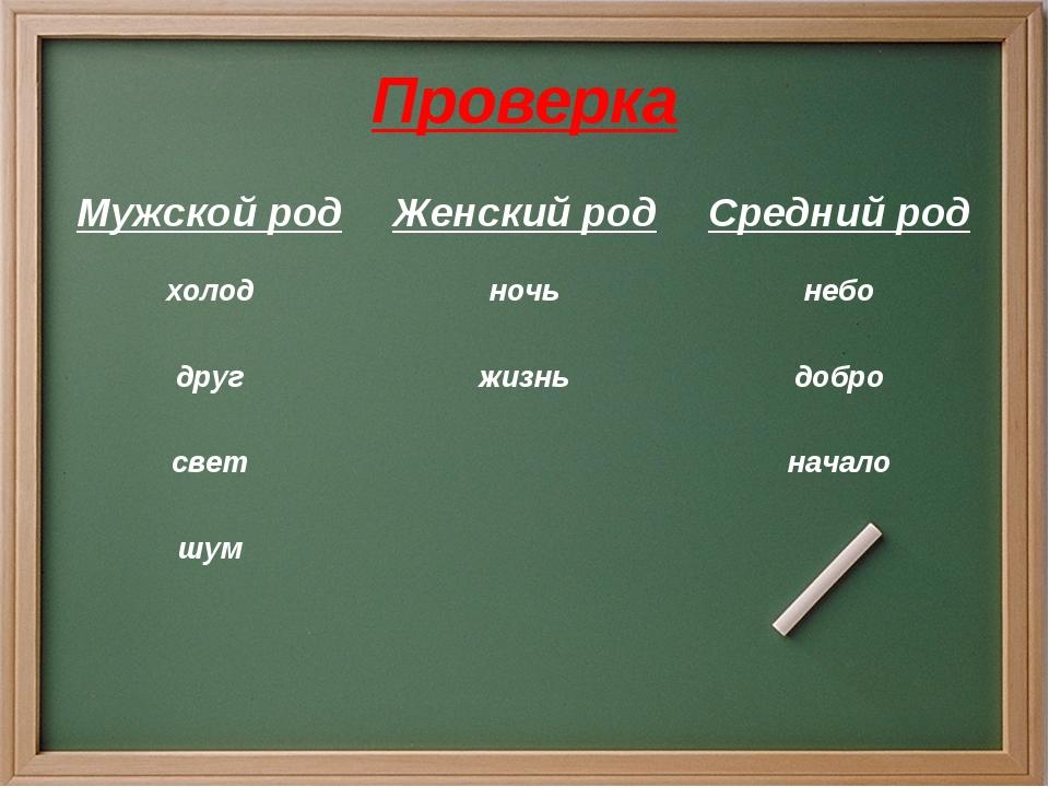 Проверка Мужской родЖенский родСредний род холодночьнебо другжизньдобро...