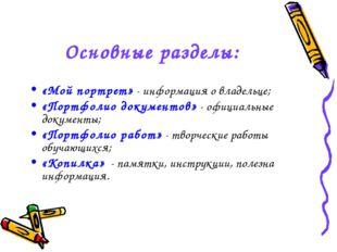 Основные разделы: «Мой портрет» - информация о владельце; «Портфолио документ