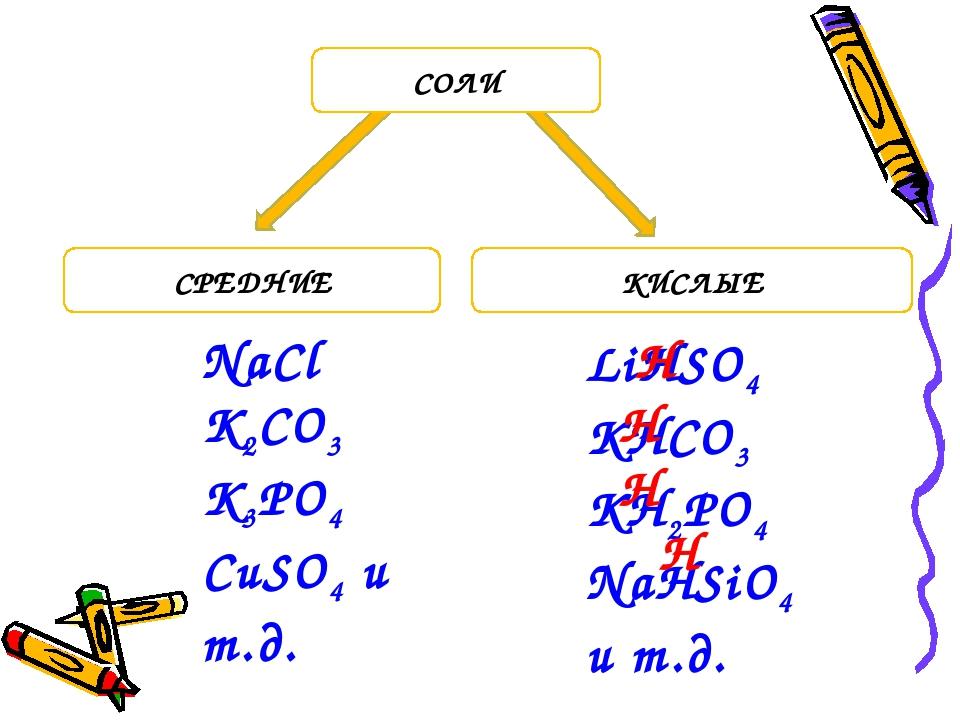 СРЕДНИЕ КИСЛЫЕ СОЛИ NaCl K2CO3 K3PO4 CuSO4 и т.д. LiHSO4 KHCO3 KH2PO4 NaHSiO4...