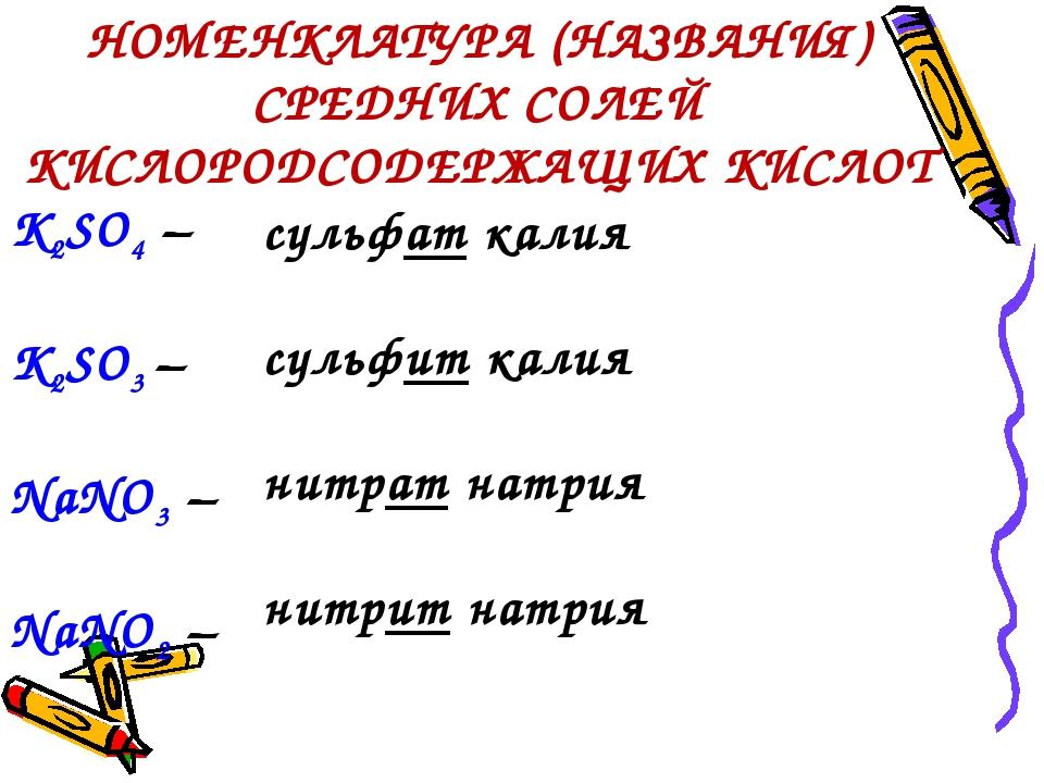 НОМЕНКЛАТУРА (НАЗВАНИЯ) СРЕДНИХ СОЛЕЙ КИСЛОРОДСОДЕРЖАЩИХ КИСЛОТ K2SO4 – K2SO3...