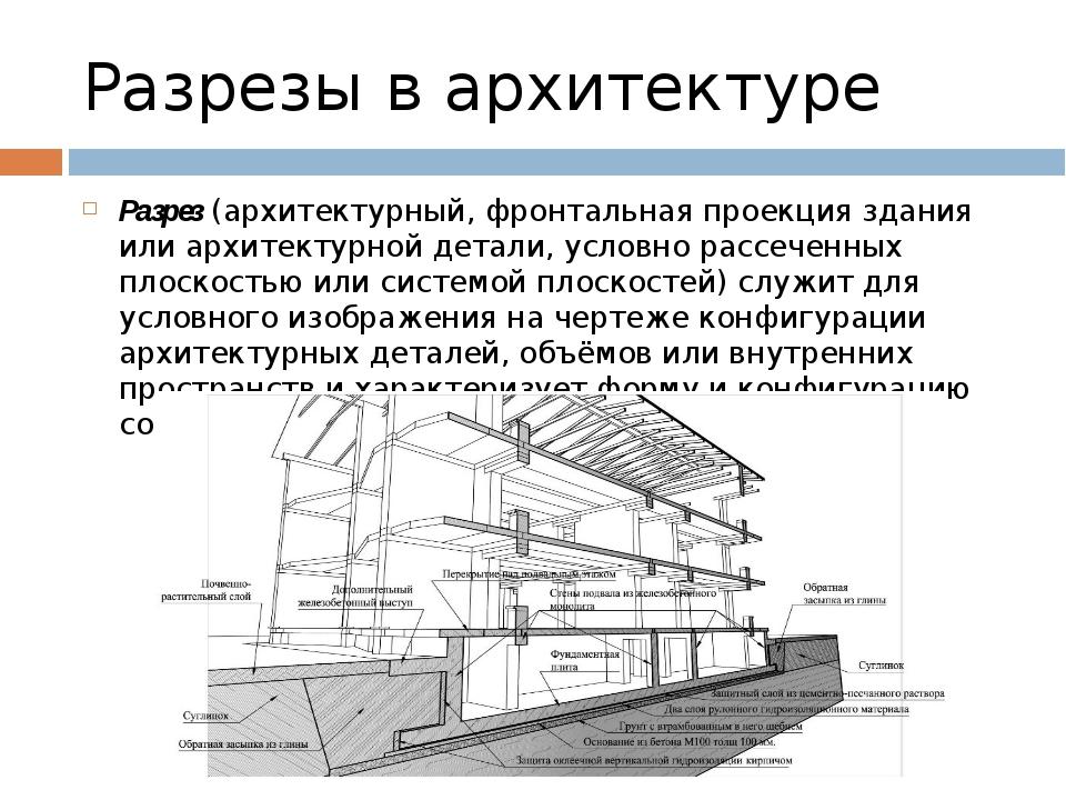 Разрезы в архитектуре Разрез (архитектурный, фронтальная проекция здания или...