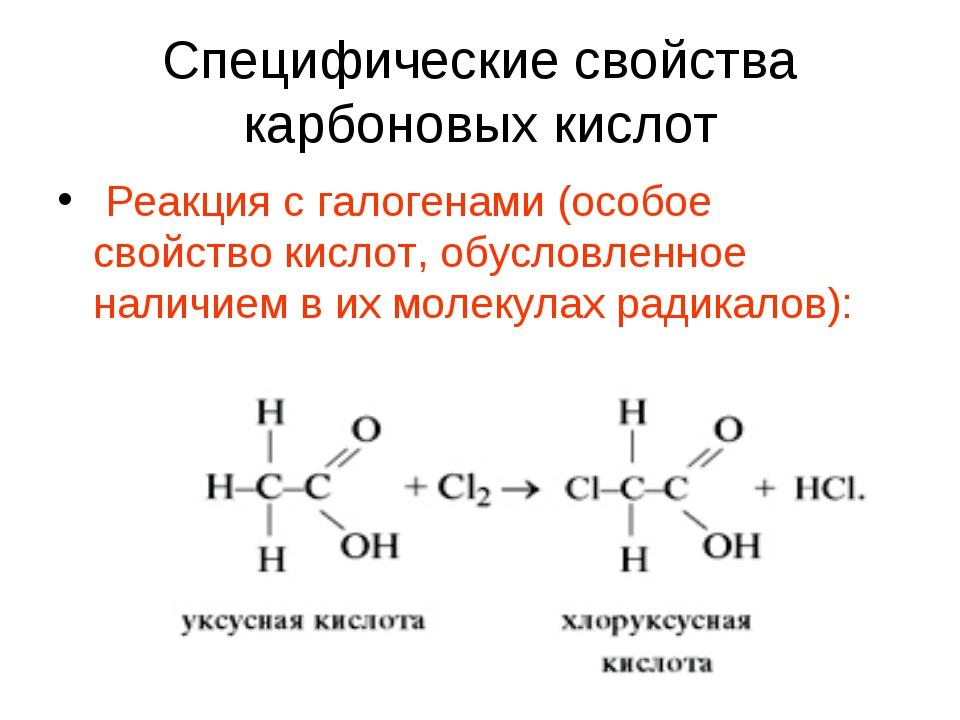 Специфические свойства карбоновых кислот Реакция с галогенами (особое свойств...