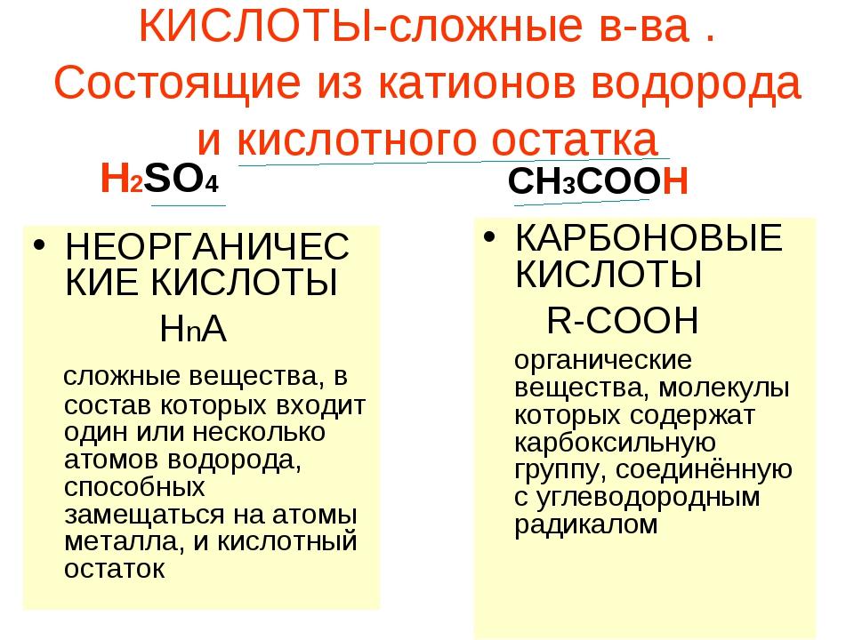 КИСЛОТЫ-сложные в-ва . Состоящие из катионов водорода и кислотного остатка НЕ...