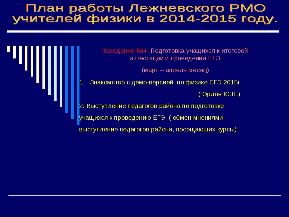 Заседание №4 Подготовка учащихся к итоговой аттестации и проведении ЕГЭ (март...