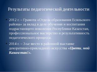 Результаты педагогической деятельности 2012 г. – Грамота «Отдела образования