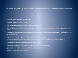 Перечень документов, отражающих уровень образования и квалификации педагога.