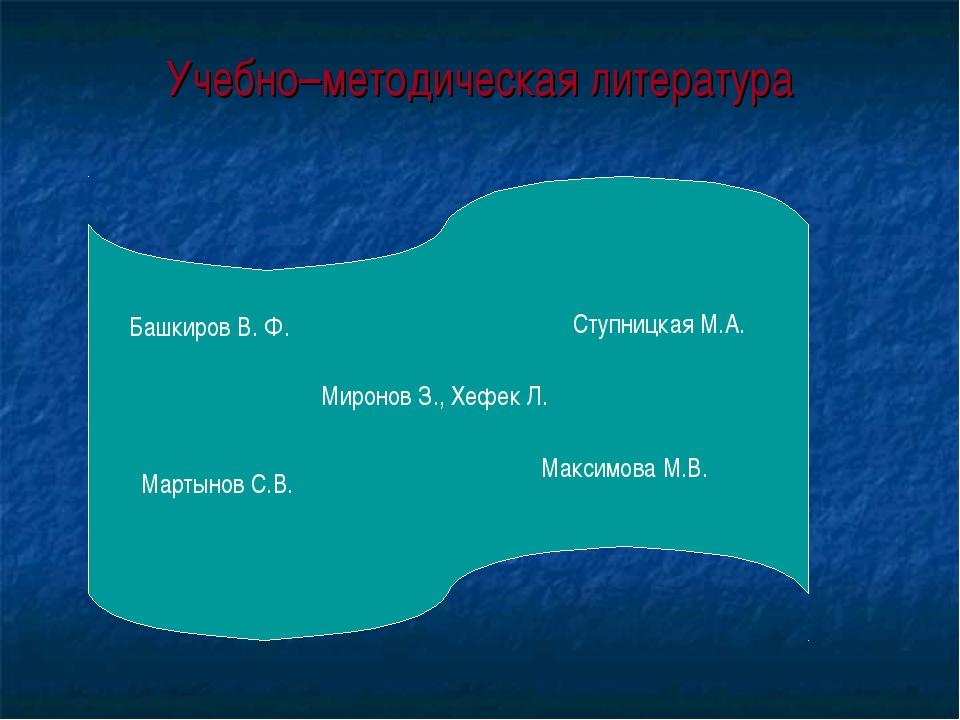 Учебно–методическая литература Максимова М.В. Башкиров В. Ф. Мартынов С.В. Ст...