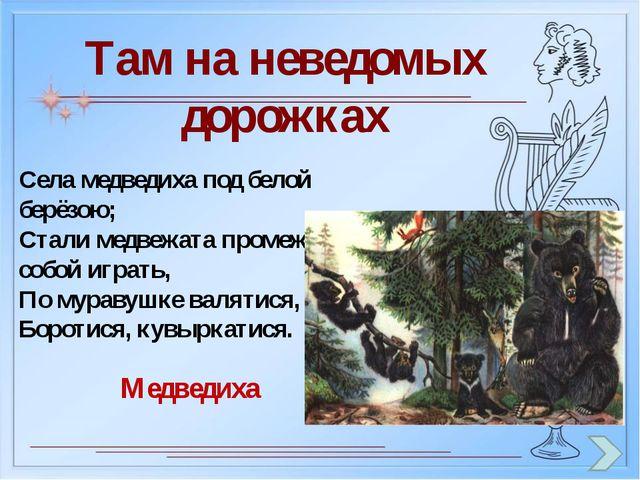Там на неведомых дорожках Села медведиха под белой берёзою; Стали медвежата п...