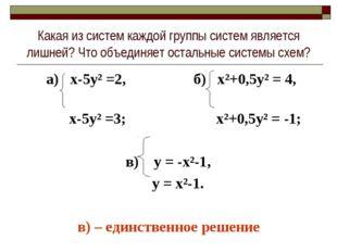 Какая из систем каждой группы систем является лишней? Что объединяет остальны