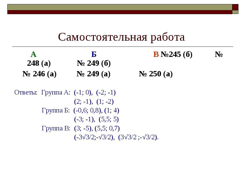 Самостоятельная работа А Б В №245 (б) № 248 (а) № 249 (б) № 246 (а) № 249 (а)...