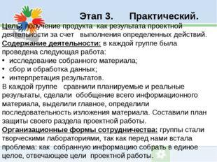Этап 3. Практический. Цель: получение продукта как результата проектной деят