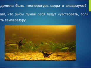 Какой должна быть температура воды в аквариуме? Я решил, что рыбы лучше себя