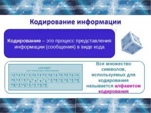 Кодирование – это процесс представления информации (сообщения) в виде кода Вс