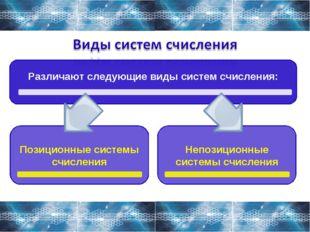 Различают следующие виды систем счисления: Позиционные системы счисления Непо