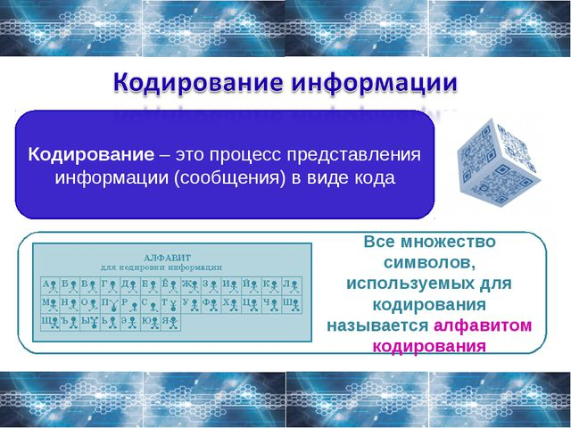 Кодирование – это процесс представления информации (сообщения) в виде кода Вс...