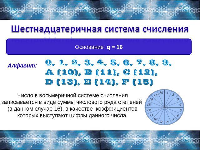 Основание: q = 16 Алфавит: Число в восьмеричной системе счисления записываетс...