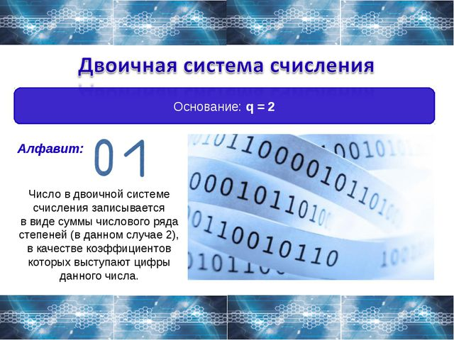 Основание: q = 2 Алфавит: Число в двоичной системе счисления записывается в в...