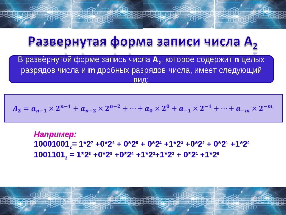 В развёрнутой форме запись числа A2, которое содержит n целых разрядов числа...