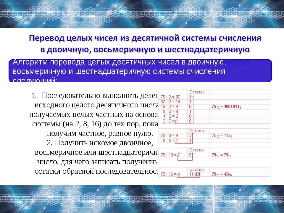 Алгоритм перевода целых десятичных чисел в двоичную, восьмеричную и шестнадца...