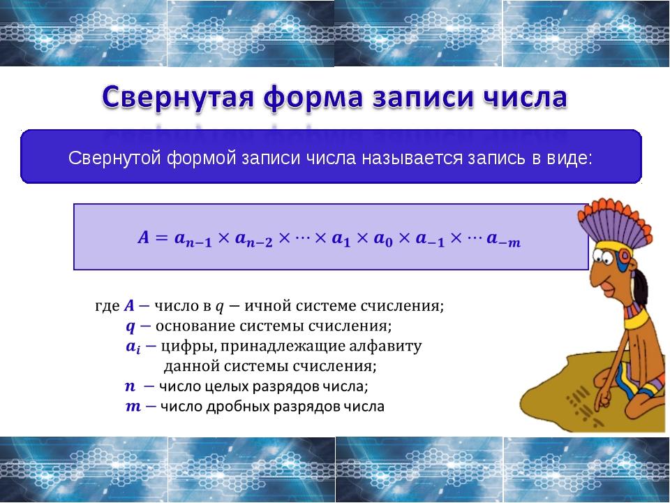 Свернутой формой записи числа называется запись в виде: