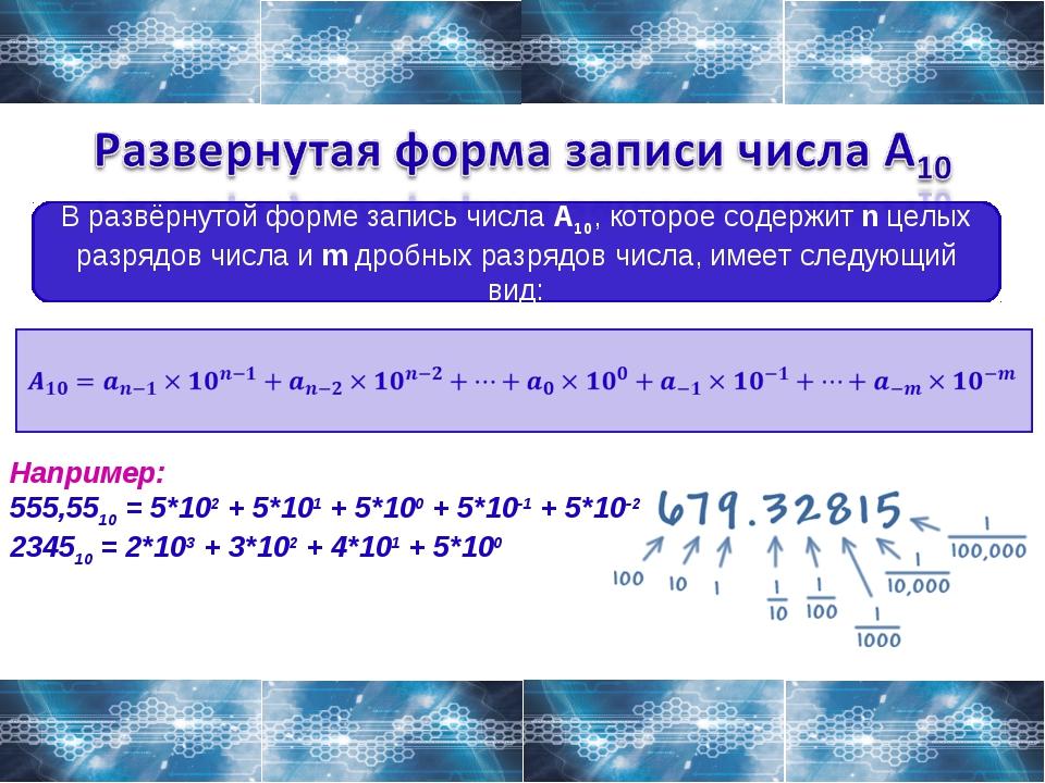 В развёрнутой форме запись числа A10, которое содержит n целых разрядов числа...