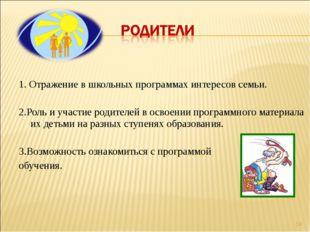 1. Отражение в школьных программах интересов семьи.  2.Роль и участие роди