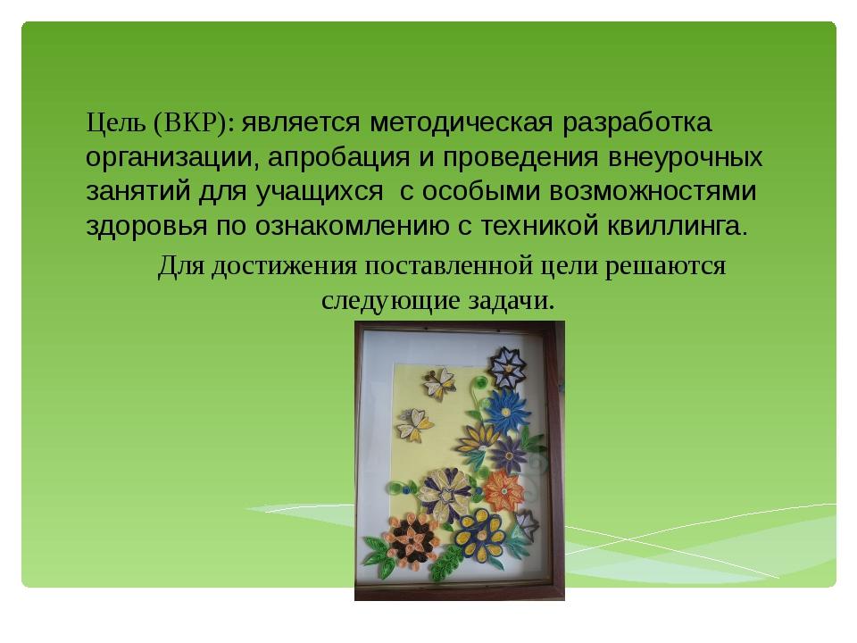 Цель (ВКР): является методическая разработка организации, апробация и проведе...
