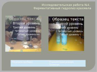 Исследовательская работа №4. Ферментативный гидролиз крахмала Нагреваем проби