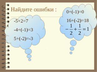 Найдите ошибки : -5+2=7 -4+(-1)=3 5+(-2)=-3 0+(-1)=0 16+(-2)=18