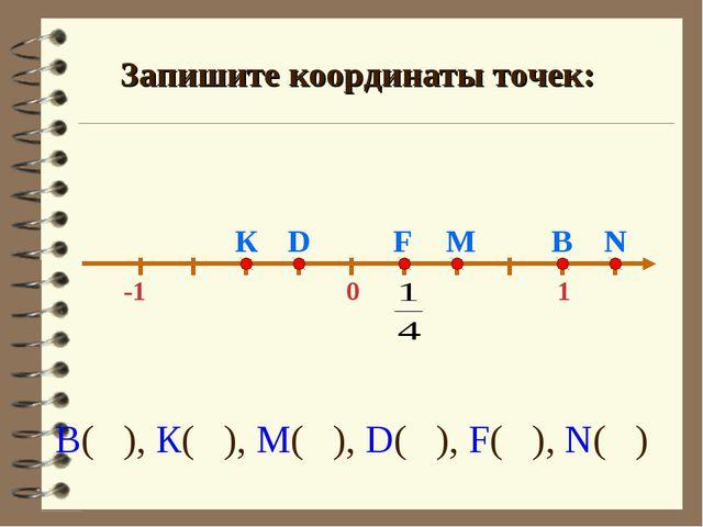 0 -1 1 М В К D N Запишите координаты точек: F В( ), К( ), М( ), D( ), F( ), N...