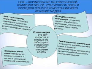 ЦЕЛЬ – ФОРМИРОВАНИЕ ЛИНГВИСТИЧЕСКОЙ, КОММУНИКАТИВНОЙ, КУЛЬТУРОЛОГИЧЕСКОЙ И ИС