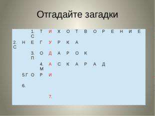 Отгадайте загадки 1.С Т И Х О Т В О Р Е Н И Е 2.С Н Е Г У Р К А 3.П О Д А Р О