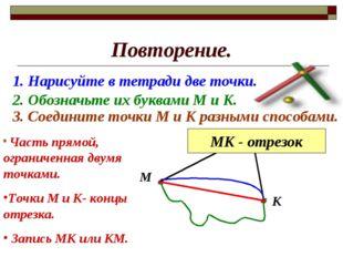 Повторение. 1. Нарисуйте в тетради две точки. 2. Обозначьте их буквами М и К.