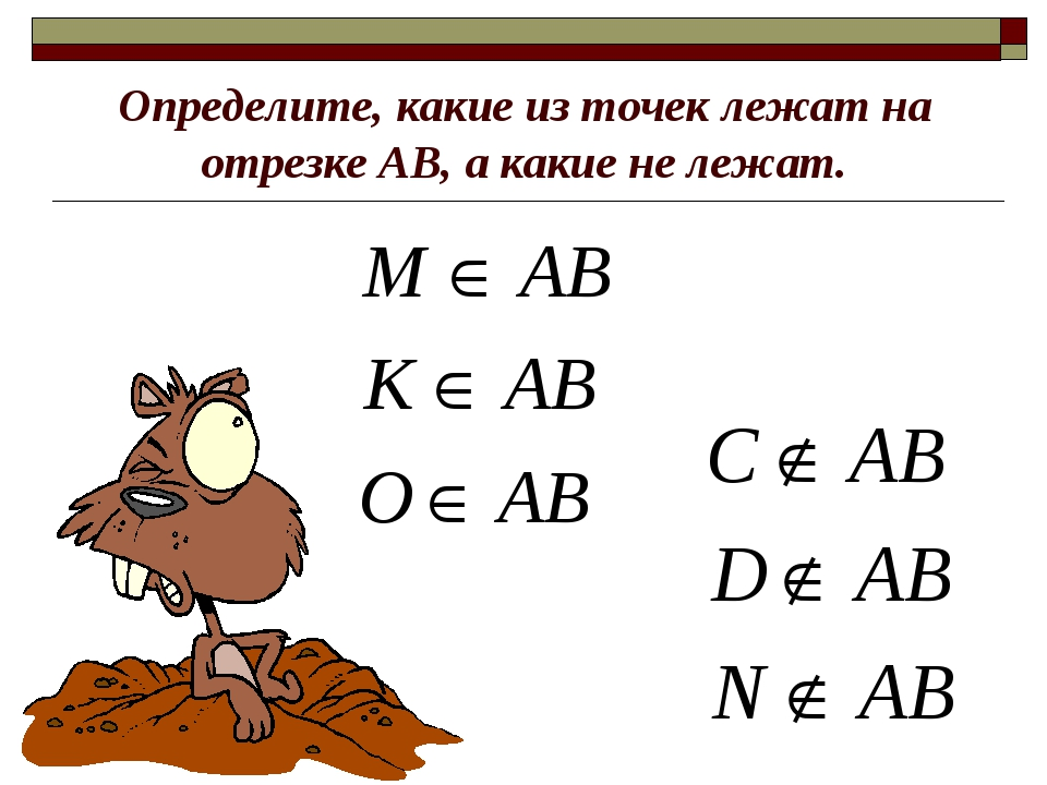 Определите, какие из точек лежат на отрезке АВ, а какие не лежат.