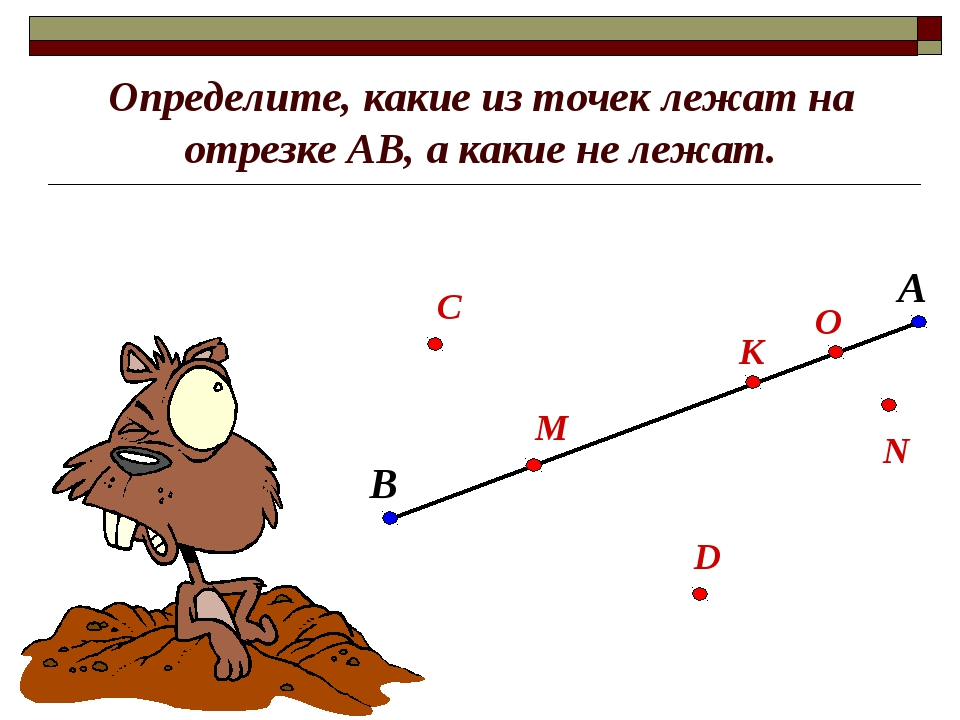 Определите, какие из точек лежат на отрезке АВ, а какие не лежат. В А С М О К...