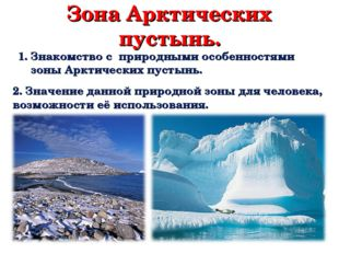 Зона Арктических пустынь. Знакомство с природными особенностями зоны Арктичес