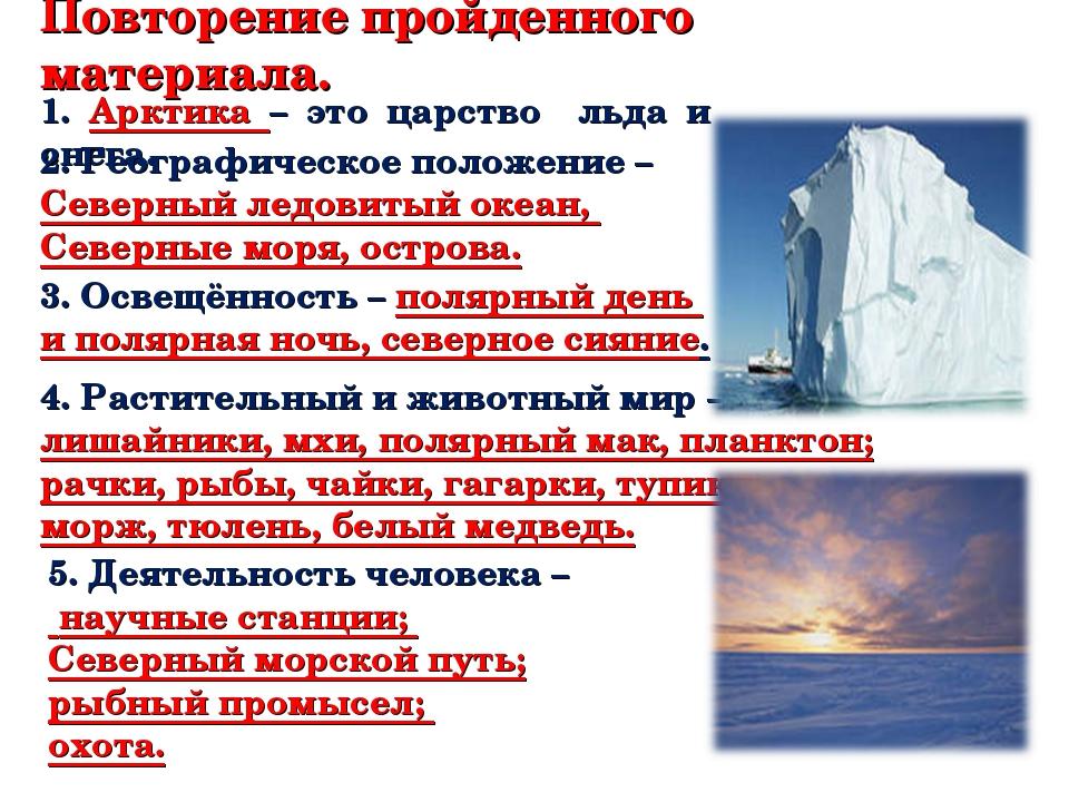 Повторение пройденного материала. 1. Арктика – это царство льда и снега. 2. Г...