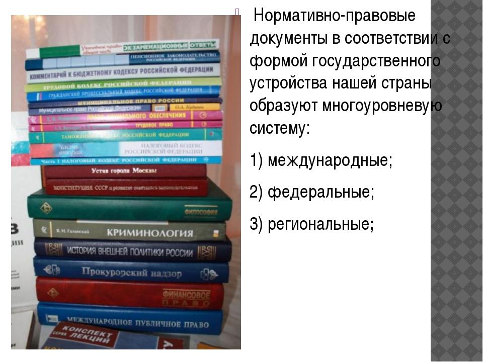 Нормативно-правовые документы в соответствии с формой государственного устро...