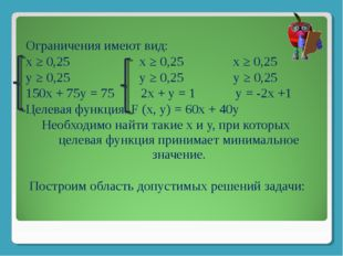 Ограничения имеют вид: х ≥ 0,25 х ≥ 0,25 х ≥ 0,25 у ≥ 0,25 у ≥ 0,25 у ≥ 0,25