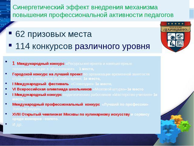 Синергетический эффект внедрения механизма повышения профессиональной активно...