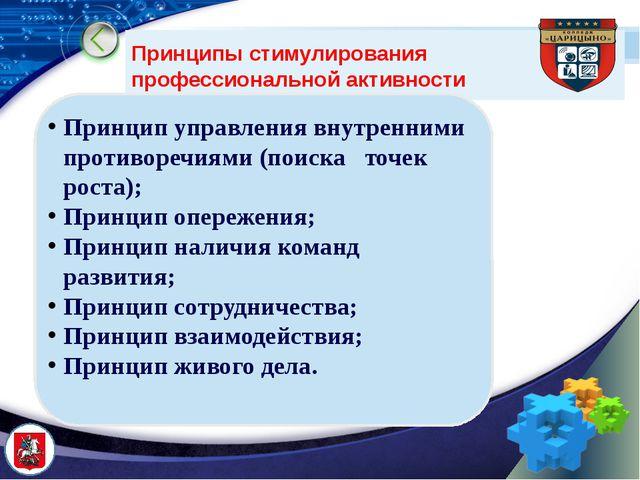 Принципы стимулирования профессиональной активности Принцип управления внутре...