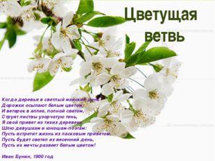Цветущая ветвь Когда деревья в светлый майский день Дорожки осыпают белым цв