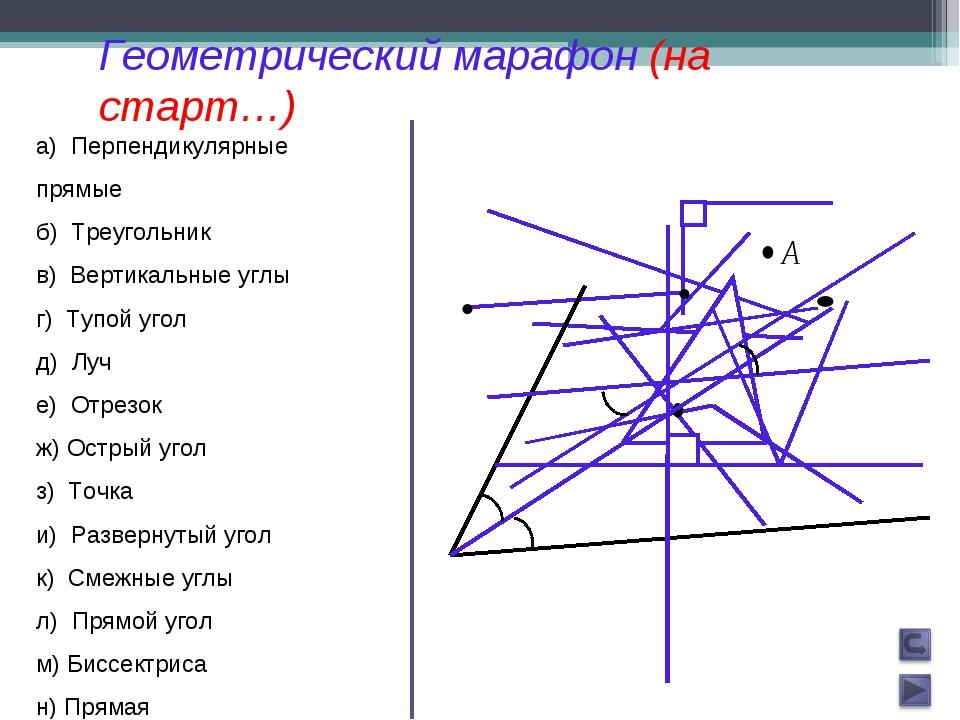 а) Перпендикулярные прямые б) Треугольник в) Вертикальные углы г) Тупой угол...
