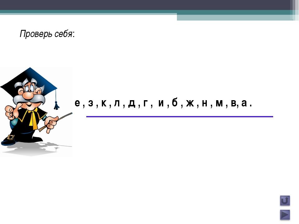 Проверь себя: е , з , к , л , д , г , и , б , ж , н , м , в, а .