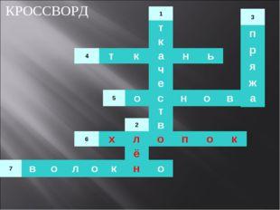 КРОССВОРД 1 т к а ч е с т в о 2 л ё н 3 п р я ж а 4ткань 5основа 6