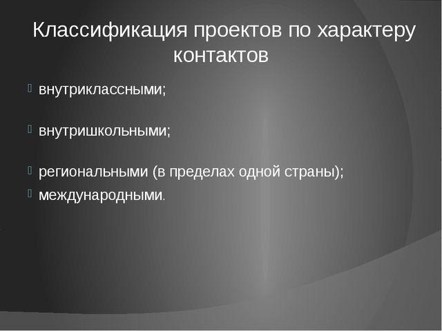 Классификация проектов по характеру контактов внутриклассными; внутришкольным...