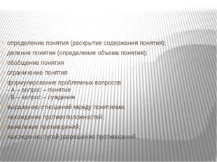 определение понятия (раскрытие содержания понятия); деление понятия (определе