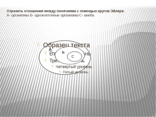 Отразить отношения между понятиями с помощью кругов Эйлера: А- организмы В- о...