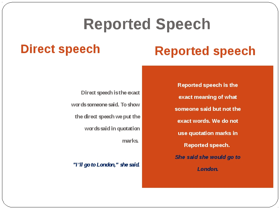 Reported Speech Direct speech Reported speech Direct speech is the exact word...